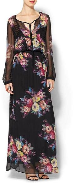 ON SALE, WAS: $395.00 NOW: $236.99 Twelfth Street By Cynthia Vincent Pleated Bodice Maxi Dress      Twelfth Street By Cynthia Vincent Pleated Bodice Maxi Dress     Long sleeve styling with pleated bodice detailing     Split-neck with tie     Elegant maxi length     Cinched at waist     Long cami slip dress with printed sheer overlay     Back vent detail     Allover floral print     Imported     Model is 5'9, wearing a size S     Silk     Dry clean.     Imported.