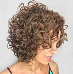 Different Versions of Curly Bob Hairstyle Perm Bob with Tousled CurlsPerm Bob with Tousled Curls Brown Curly Hair, Curly Hair Cuts, Short Curly Hair, Short Hair Cuts, Curly Hair Styles, Bob Haircut Curly, Messy Bob Hairstyles, Hairstyles Haircuts, Straight Hairstyles