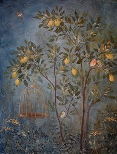 Faux Fresco panel Livia's Garden by Cutting Edge stencils.