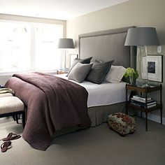 Style Guide: Bedroom Accents   Stepstool   SouthernLiving.com. This extra tall headboard is rather dreamy.
