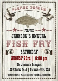 Fish Fry BBQ Invitations. More surf than turf! #BBQ_Invitations