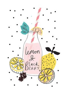 lemon and blackberry, drawing, drink, fruit, summer, illustration, food