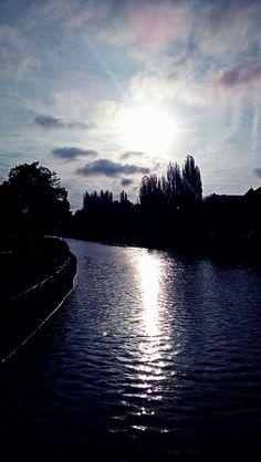 Morning sunshine. Dambovita river. Bucharest. Nature vs. Urban.
