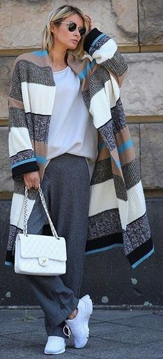 Knit Fashion, Look Fashion, Winter Fashion, Womens Fashion, Fall Outfits, Casual Outfits, Cute Outfits, Look Street Style, Jackets For Women