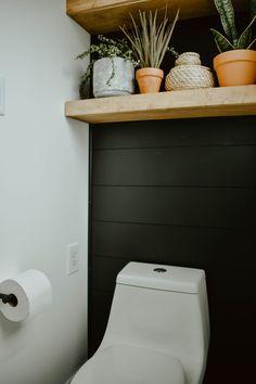 Wooden Bathroom Vanity, White Subway Tile Bathroom, Small Bathroom, Bathroom Plants, Bathroom Black, Subway Tiles, Bathroom Ideas, Master Bathroom, Diy Vanity