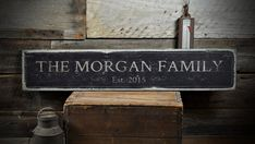 Personalized Anniversary Sign, Family Name Sign, Custom Wedding Gift, Rustic Last Name Decor, Wooden Established Date Sign - ENS1001278