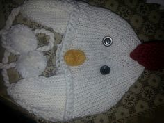 knitted animal hat chicken