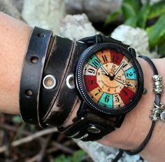 Distressed black leather wrap watch with Multicolor watch face