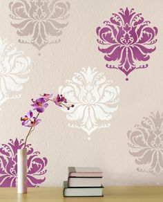 Try Damask stencils instead of pricey damask wallpaper! Our damask stencils are easy to use and very cost effective. Classic stencils, damask stencil patterns, wallpaper stencils for DIY decor. Wallpaper Stencil, Damask Stencil, Stencil Patterns, Damask Wall, Stencil Walls, Bird Stencil, Stencil Art, Stencil Designs, Cutting Edge Stencils