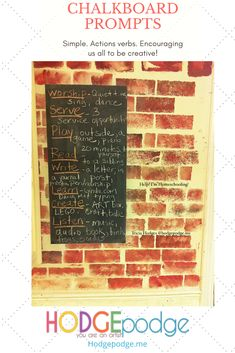 Chalkboard of Summer Prompts - Hodgepodge Action Verbs, Simple Reminders, Make A Wish, Box Art, School Days, Prompts, Homeschooling, Chalkboard, Count