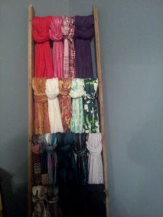 Turn a wooden ladder into scarf storage. Maybe this would encourage me to actually wear all my scarves.