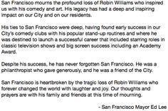 "Twitter / ""MatthewKeysLive: San Francisco Mayor Ed Lee releases statement on passing of Robin Williams"" - 8/11/14  #RobinWilliams #rip"