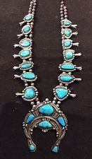 Vintage Navajo Turquoise and Silver Squash Blossom Necklace signed by J.Long