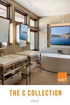 Credit: Anne Grice Open Shelving, Shelves, Contemporary Bathtubs, Wet Style, Soaking Bathtubs, Modern Baths, Bath Ideas, Bathroom Furniture, Powder Room
