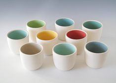 Handmade Pigeon Forge-type ceramic cups in gorgeous colors. #design #coffee #mug #cup #dishes #breakfast
