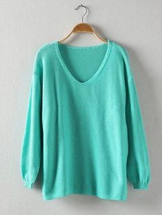 Women Casual Loose Solid Color V-neck Long Sleeve Sweater