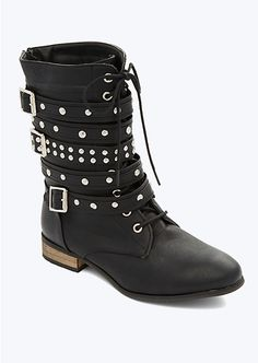 Studded Wrapped Buckle Combat Boot | Boots | rue21