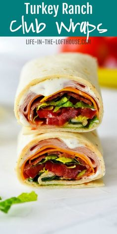 Turkey Ranch Club Wraps make for a quick and easy lunch or dinner! They're filled with turkey, bacon with ranch dressing and taste like a million bucks! Wrap Recipes, Lunch Recipes, Easy Dinner Recipes, Healthy Recipes, Clean Recipes, Turkey Recipes, Field Meals, Cold Lunches, Bag Lunches
