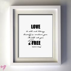 "8x10 Mumford & Sons Lyric Art, ""love, it will not betray, dismay or enslave you. it will set you free."" on Etsy, $19.00"