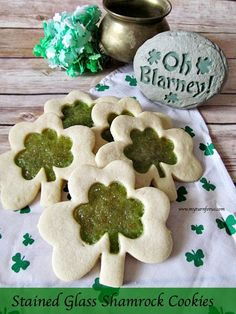 Make these Stained Glass Shamrock Cookies for all your lucky friends on St Paddy's Day.     http://www.myturnforus.com/2015/03/stained-glass-shamrock-cookies.html