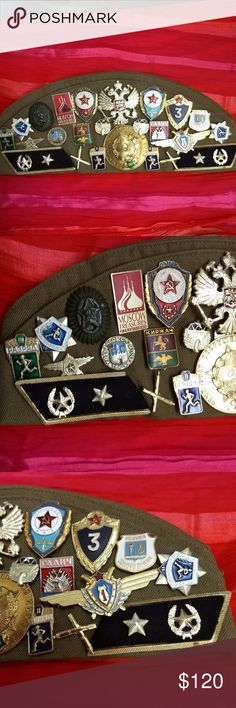 "USSR Military Cap Pins Badges Vintage Russia Outstanding USSR campaign hat adorned with 22 military pins, a pair of military epaulettes and 3 military patches.  Russian campaign hat is from 1974 and all pins and badges are from the same era.  Hat fits 22"" head and looks unworn. What a fabulous gift for the military or history buff! Priced at less than $5.00 per piece. EUC ~ absolutely no wear, scratches, dust to any item. 181.3g   (1117RA-350) VINTAGE MILITARY Jewelry Brooches"