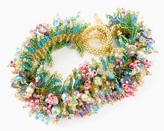 Spring Bracelet Bead Weaving instant download pattern, offloom & peyote stitch, fringe decorations, fits anyone, links to tutorials