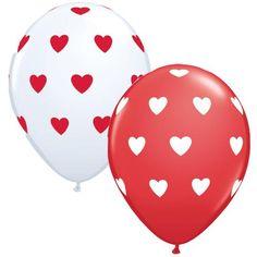 Red & White Heart Latex Balloons