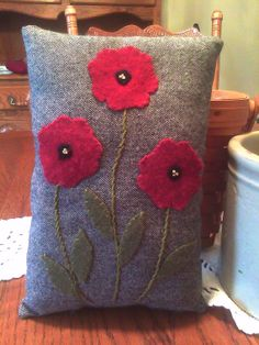 Decorative Red Poppy Wool Applique Pillow  by WOOLYPRIMITIVES, $12.00