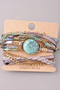 Multi-Stone Wrap Bracelet