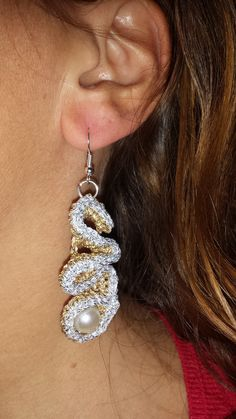 Orecchini all'uncinetto Crochet and pearl earings