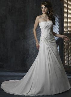 A-line Chiffon Sleeveless bridal gown $335.00