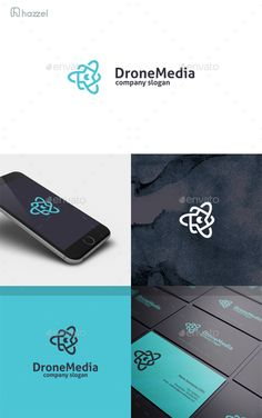 Drone Media Logo by HZZL A great and simple logo CMYK Editable and resizable vector files Editable text and color Included AI, PSD and EPS (illustrator 10 Web Design, Best Logo Design, Graphic Design, Creative Design, Logo Design Template, Logo Templates, Logo Process, Hotel Logo, Professional Logo Design