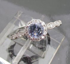 Engagement Ring Round Light Blue Sapphire Set in 14k Gold and Diamond Halo Ring Matching Wedding Band