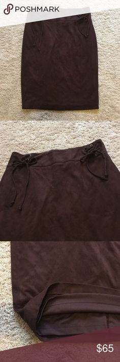 LAUNDRY faux suede skirt Dark brown faux suede skirt from Laundry! Has a corset style lace up on both sides, zipper in the back! There is a thick band at the waist to cinch in the stomach! Material is super soft and comfortable to wear ! Laundry By Shelli Segal Skirts