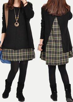Patchwork Long Sleeve Plaid Print Black Tunic Dress