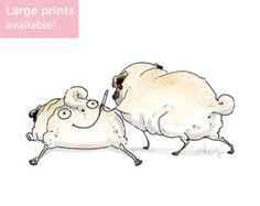 The Sommeliette Pug Art Print Cute Daddy and Me Mommy by Inkpug