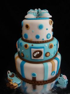 51 Super Ideas For Baby Shower Ideas For Boys Sports Cake Pop Baby Shower Cakes For Boys, Baby Boy Shower, Baby Showers, Baby Boy Christmas, Sport Cakes, Baby Food Jars, Baby Girl Quilts, Baby Girl Headbands, Amazing Cakes