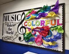 Welcome kids with a colorful, musical bulletin board. Elementary Bulletin Boards, Music Bulletin Boards, Preschool Music, Teaching Music, Teaching Resources, Preschool Bulletin, Colorful Bulletin Boards, Music Room Art, Music Decor