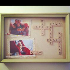 Scrabble shadow box frame with family photos and scrap embellishments