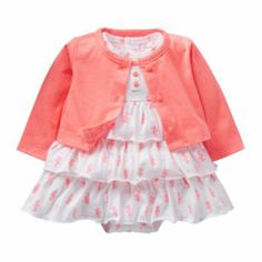 """Carter's Girls White/Orange Seahorse Printed Tiered Ruffle Sleeveless Bodysuit Dress and Cardigan Set - Carters - Babies""""R""""Us Baby Kids Clothes, Baby & Toddler Clothing, Toddler Outfits, Outfits Niños, Kids Outfits, Baby Girl Dresses, Baby Dress, Dress Set, Baby Girl Fashion"""