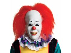 A great compliment for your costume of Pennywise the Clown from the movie IT, adapted from Stephen King's novel of the same name. Full over-the-head latex mask with hair. One size fits most adults.