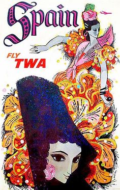 TWA - Spain Vintage Poster (artist: David Klein) c. 1955 SIGNED Print Master Art Print w/ Certificate of Authenticity - Wall Decor Travel Poster) -- For more information, visit image link. (This is an affiliate link) Art Vintage, Retro Poster, Photo Vintage, Vintage Travel Posters, Vintage Ads, Vintage Airline, Vintage Style, Vintage Canvas, Illustrations Vintage