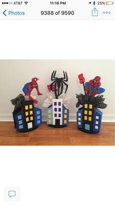 Spiderman centerpieces party decoration ideas from www.uniquedecoparty.com Superhero Baby Shower, Superhero Birthday Party, 3rd Birthday Parties, Boy Birthday, Kids Party Themes, Birthday Party Decorations, Party Ideas, Spiderman Theme, Deco Table
