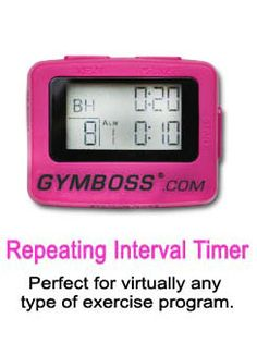 GymBoss: I love this gadget!! I have the hot pink (as shown), uses one AAA battery. Can be used for any exercise and clips on. I use it while running sometimes: set to jog 3 min, walk 1 min. Can set it to beep or vibrate.