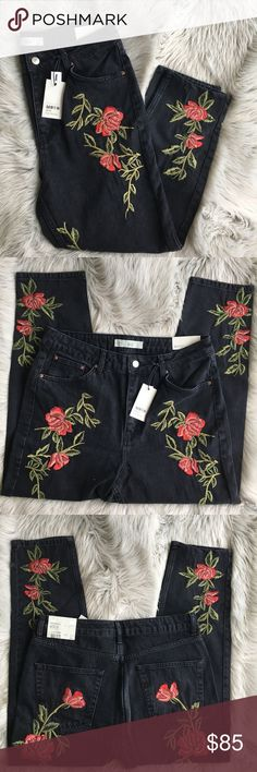 Topshop Rose Embroidered Mom Jeans Sold out and very hard to find! Gorgeous black colored high waisted Mom jeans from Topshop with red floral roses and vines embroidery  Size 32 Brand new with tags Retails for $110! Topshop Jeans Boyfriend