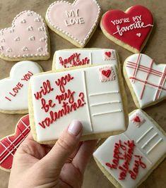 Valentine's Day Postcard & Hearts Cookie Set – No Regrets Cookies Valentine Desserts, Valentines Day Cookies, Valentines Baking, Holiday Cookies, Be My Valentine, Valentine's Day Sugar Cookies, Heart Cookies, Iced Cookies, Royal Icing Cookies