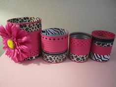 Set of 4  Hot PINK ANIMAL Print Decorative by partiesgalore, $12.00