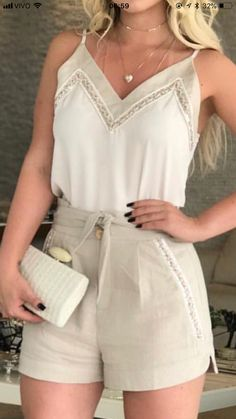 22 Summer Fashion 2019 To Wear Today tank cami camisole lace Mode Outfits, Short Outfits, Chic Outfits, Summer Outfits, Fashion Outfits, Womens Fashion, Fashion Ideas, Fashion Shorts, Fashionable Outfits