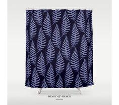 Blue Botanical Bathroom Decor Shower by HeartofHeartsDesigns