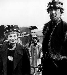 Giulietta Masina and Anthony Quinn on the set of  La Strada | Federico Fellini, 1954
